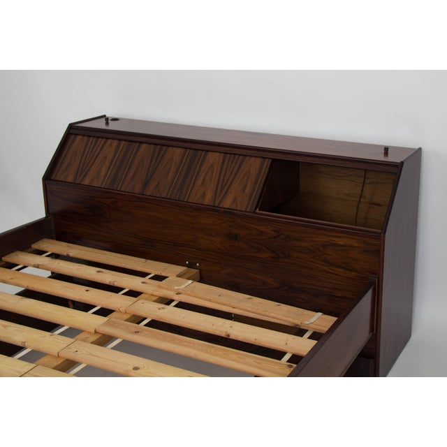 Westnofa Rosewood Bed Frame with Headboard Storage For Sale In Los Angeles - Image 6 of 7