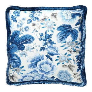 Highgrove Linen Print Pillow in Blue For Sale