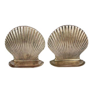 Mid-Century Brass Shell Bookends - a Pair For Sale