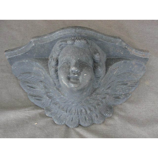 Cast Iron Wall Sconce Planter With Cherub Face For Sale - Image 4 of 8