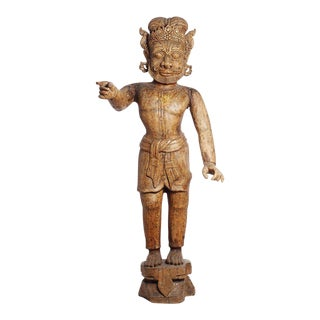 Large Antique Indian Carved Wood Mogul Figure with Hand Out, Early 20th Century For Sale
