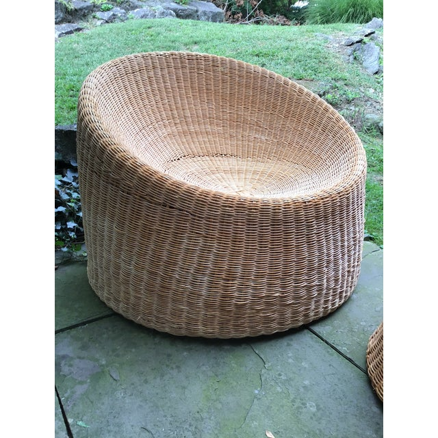Mid-Century Modern Mid Century Eero Aarnio Wicker Elephant Boot Chairs and Foot Stool - Set of 3 For Sale - Image 3 of 13