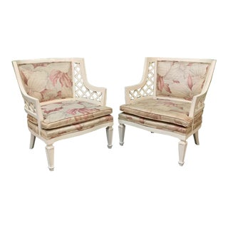 Hollywood Regency Lattice Club Chairs, a Pair For Sale