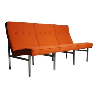 Mid Century Modern Sofa in Orange in the Style of Florence Knoll For Sale