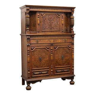 Vintage Gothic Style Carved Walnut Court Cupboard by Landstrom Furniture Co For Sale