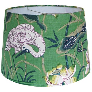 Tapered Green Lotus Garden Lamp Shade For Sale