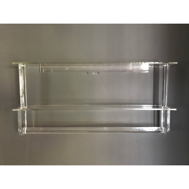 Vintage Lucite Shelves with Towel Bar - Image 3 of 4