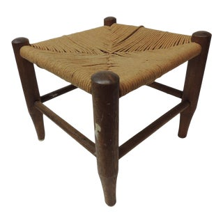 Vintage Woven Seat With Four Legs Adirondack Style Footstool For Sale