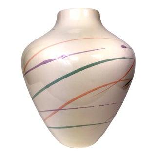 Vintage Vohann of California Hand Painted Ceramic Vase For Sale