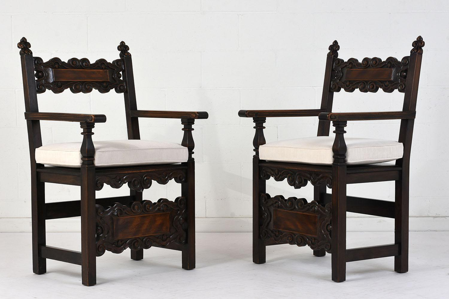Antique Traditional Spanish Colonial Style Arm Chairs   A Pair   Image 2 Of  8