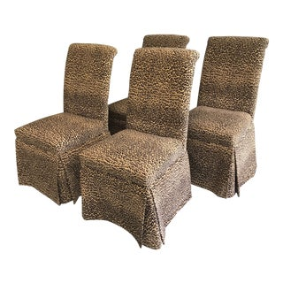Contemporary Velvet Leopard Parsons Chairs - Set of 4 For Sale