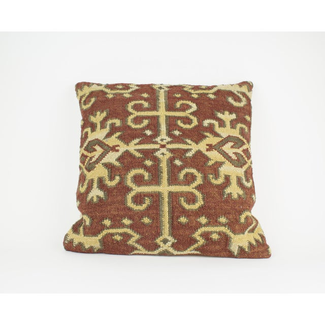 Brown and Tan Wool Textile Kilim Pillow For Sale In New York - Image 6 of 9