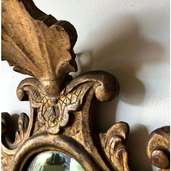 """Venetian Baroque Gilt and Mirrored Sconce Height: 28"""" Width: 16"""" Depth: 4.5"""" top"""
