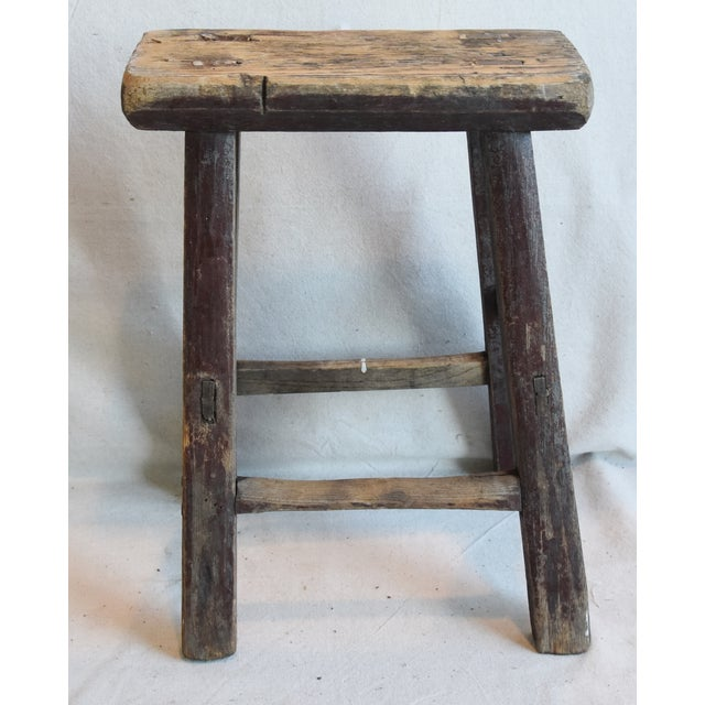 Rustic Primitive Country Wood Farmhouse Stool For Sale In Los Angeles - Image 6 of 9
