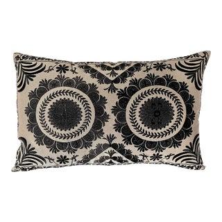 Granite on Fog Embroidered Gulkurpa Lumbar Pillow For Sale