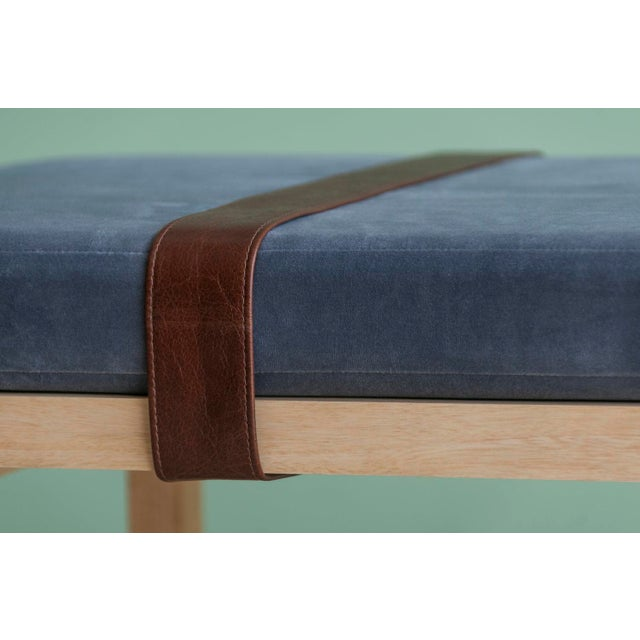 Modern Ebb and Flow Tray Bench in Violet Grey Velvet For Sale - Image 3 of 6