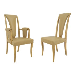 Set Of 8 English Art Deco Maple High Back Dining Chairs