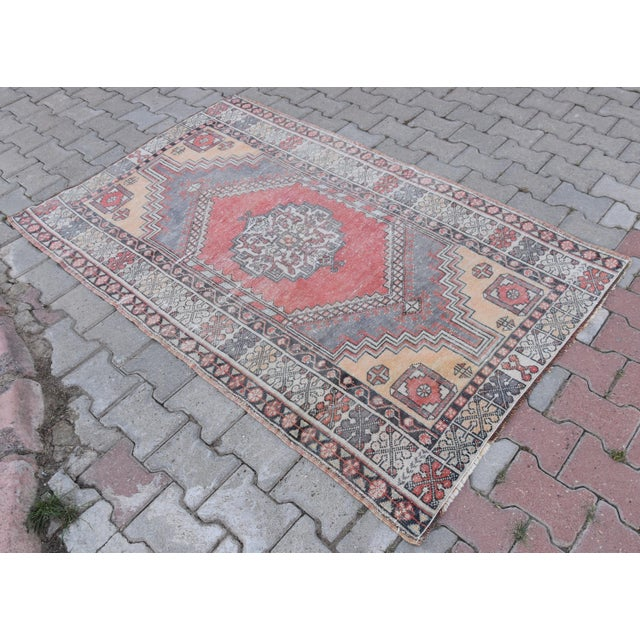 Distressed Turkish Oushak Rug - 3′11″ × 6′1″ - Image 3 of 9