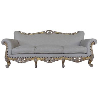 19th C. French Louis XV Style Gilt Wood Sofa For Sale