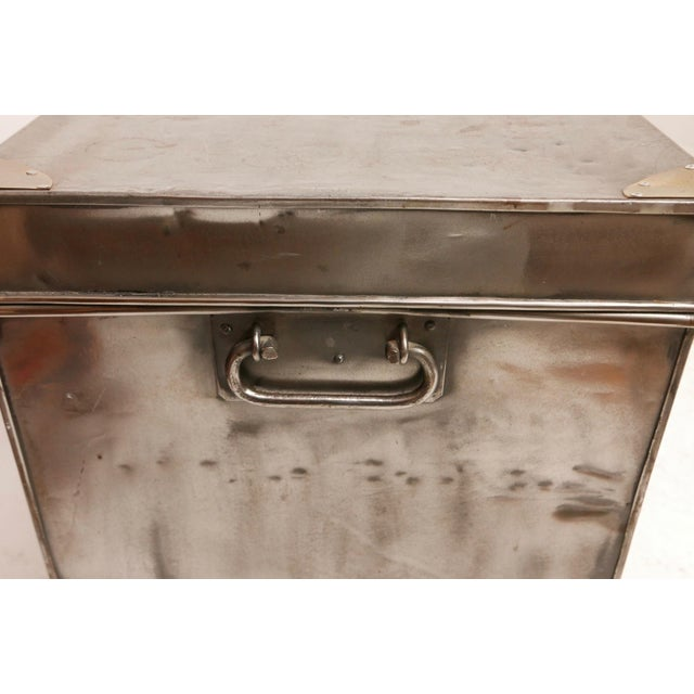 19th Century Polished Steel Trunk on Stand For Sale - Image 9 of 12