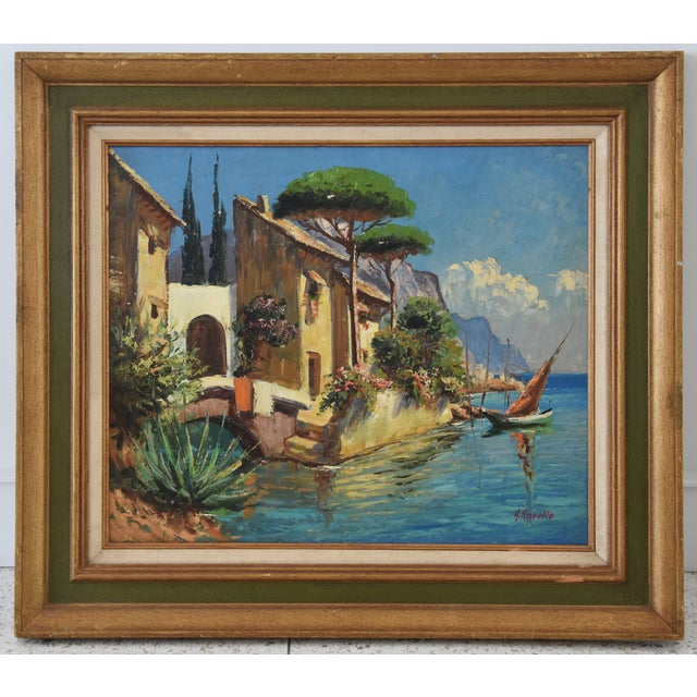 Canvas Midcentury Italian Mediterranean Lake & Village by A. Ravello For Sale - Image 7 of 10