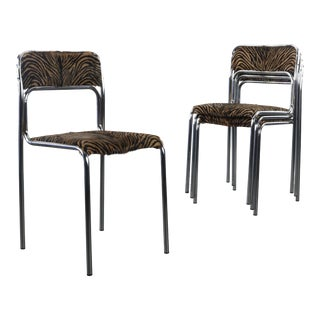 Italian Mid Century Modern Stacking Chrome Chairs with Hair On Hide Seats - Set of 4 For Sale