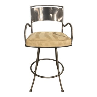 Modern Brushed Metal Swivel Bar Stool For Sale