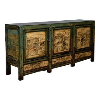 Antique Chinese Painted Sideboard Cabinet - Large For Sale