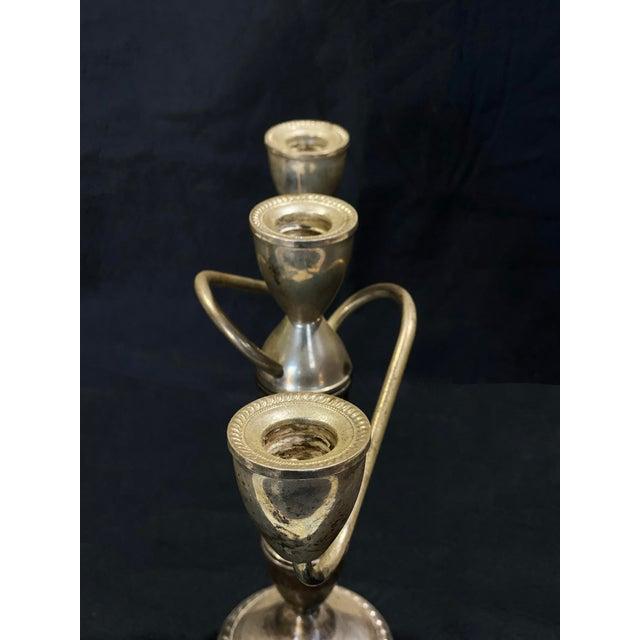Victorian Vintage Art Deco Sterling Silver Candlestick Holder Candelabra's - a Pair For Sale - Image 3 of 12