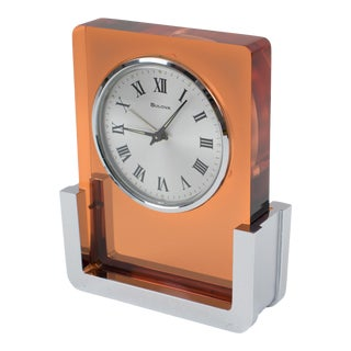 1970s Bulova Japan 2ra007 Wind Up Alarm Table Clock Copper Lucite and Chrome For Sale