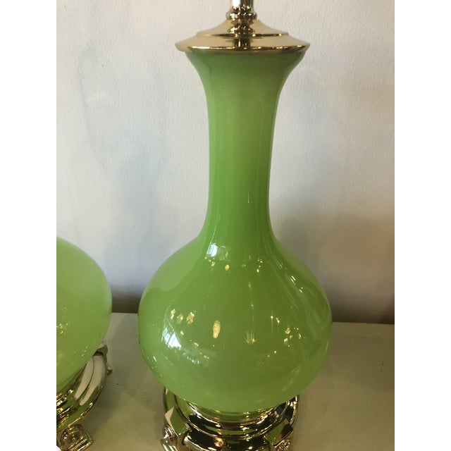 1960s Vintage Paul Hanson Green Opaline Glass Brass Base Table Lamps - A Pair For Sale - Image 5 of 13