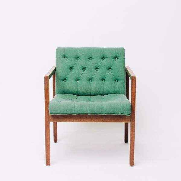 Vintage Green Wool Danish Arm Chairs Pair For Sale - Image 5 of 8