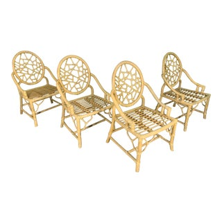 Rattan Cracked Ice Dining Chairs in the Manner of McGuire, Set of 4 For Sale