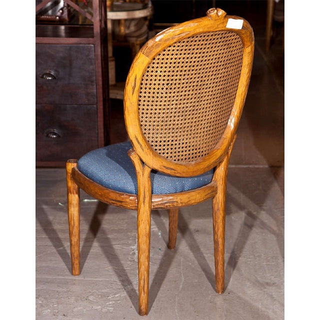 Blue French Louis XIV Style Caned Side Chairs - Pair For Sale - Image 8 of 8