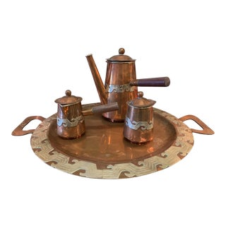 Artesanias Mexico Copper & Silver Coffee Set of 4 For Sale