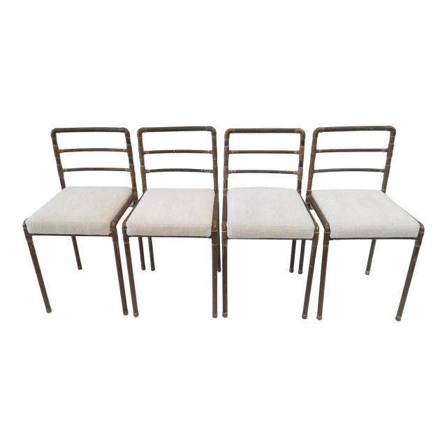 Copper Upholstered Pipe Chairs - Set of 4 - Image 1 of 8