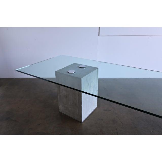 1970s Sergio & Giorgio Saporiti Concrete and Glass Dining Table For Sale - Image 9 of 13