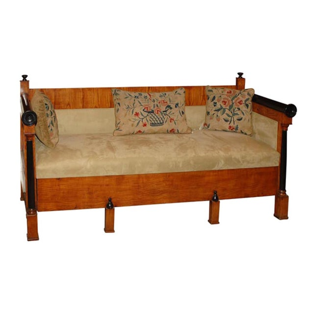 1840 Biedermeier Birch and Orange Fabric Upholstered Sofa For Sale In San Francisco - Image 6 of 6