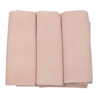 Antique French Dinner Napkins - Set of 12