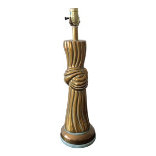 Twisted Knot Bronze Mid Century Lamp in the Style of John Dickinson For Sale