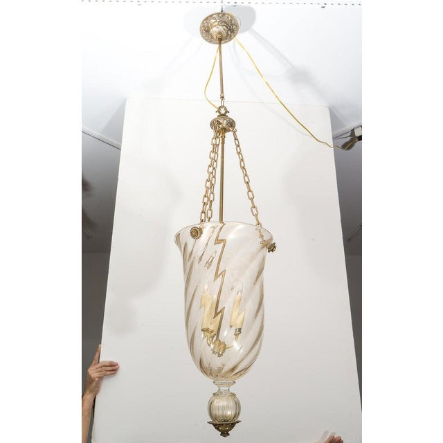 This stylish Murano glass and antiqued brass chandelier dates to the 1990s and was created by Barovier. Note: Requires...