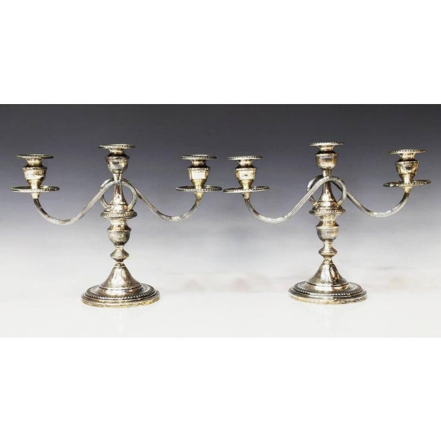 1940s Sterling Silver Three-Light Candelabras - a Pair For Sale - Image 11 of 11