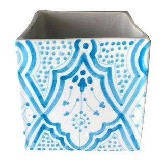 Modern Turquoise Cubic Porcelain Planter For Sale