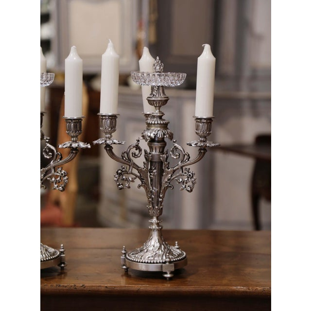 Metal Pair of 19th Century French Silvered Bronze Candelabras and Crystal Bobeche For Sale - Image 7 of 13