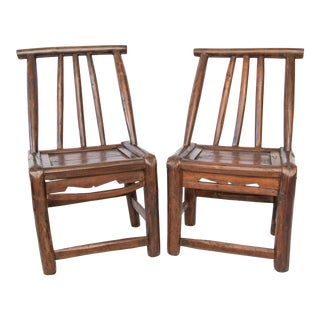 Antique 19th-Century Chinese Child's Chairs - a Pair For Sale