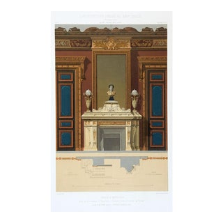 1870's French Hotel Lisbonne Architectural Ornament Lithograph For Sale