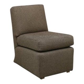 Modern Brown Custom Made Slipper Chair For Sale