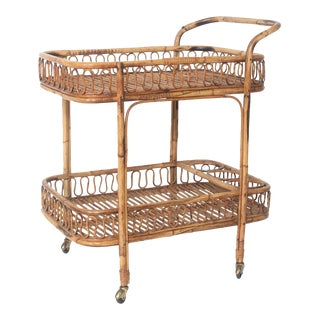 1960s Mid-Century Rattan Bar Cart