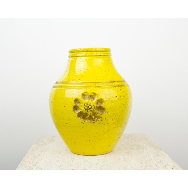 Bitossi for Rosenthal Netter Yellow Pottery Vase For Sale - Image 9 of 9
