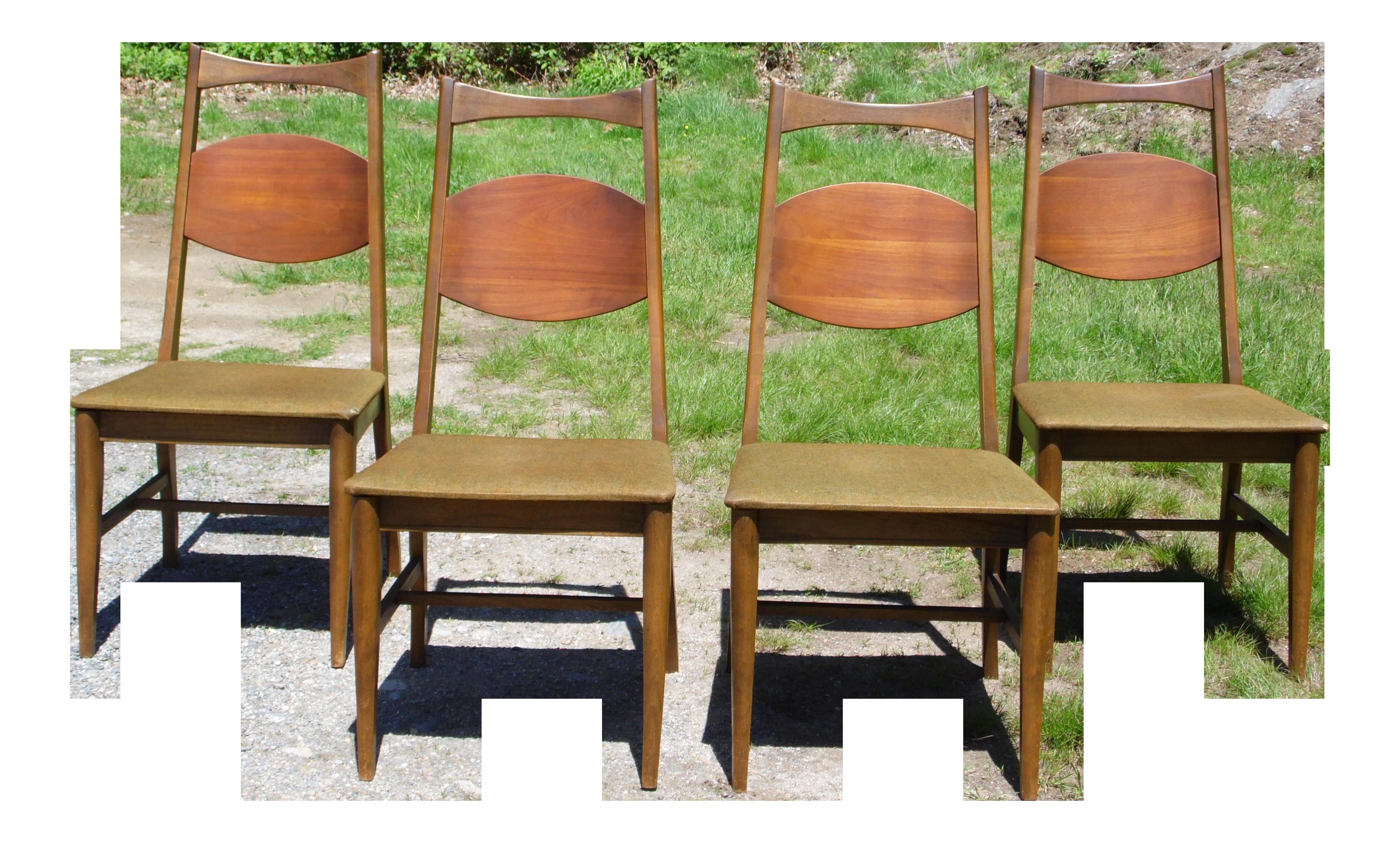 Vintage Bassett Mid Century Modern Walnut Dining Chairs   Set Of 4 |  Chairish